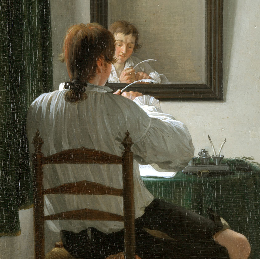 A writer trimming his pen  *oil on panel  *27,5 x 23,5 cm  *1784  *I. Ekels. f. / Ano. 1784