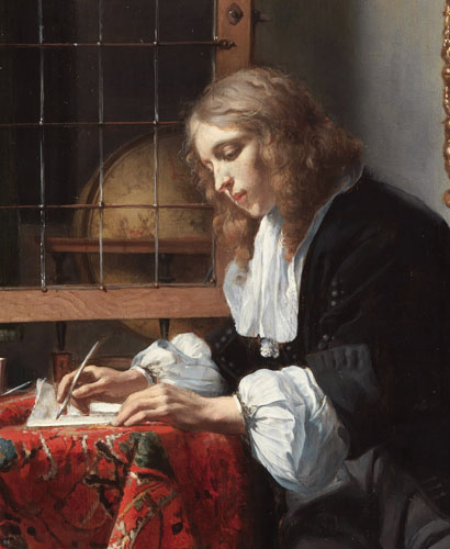 Man writing a letter *oil on panel *52.5 × 40.2 cm *circa 1664-1666